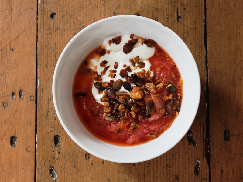 spiced rhubarb compote with whipped ricotta and granola2