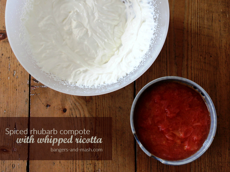 spiced rhubarb compote with whipped ricotta text